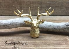 Gold Stag Antler Deer Head Metal Knob - Antler Drawer Pull Nature Buck Doe Forest Theme - Hunter Mancave Nursery