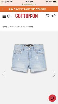 Denim shorts, a staple! Kids Girls, Buy Now, Denim Shorts, Cotton, Stuff To Buy, Women, Style, Fashion, Swag