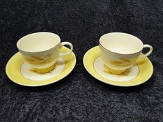 Century Service Corp Autumn Gold  Footed Tea Cup Saucer Sets. TWO EXCELLENT! #CenturyService