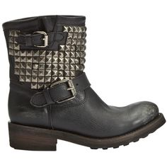 Ash Titan Studded Biker Boot - Black (545 AUD) ❤ liked on Polyvore featuring shoes, boots, botas, zapatos, chaussures, black, black ankle boots, black moto boots, short leather boots and studded ankle boots
