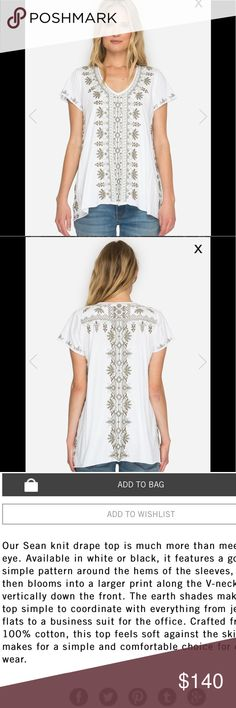 Johnny Was Sean Knit Drape Top 100% cotton, beautiful embroidery and sized small but mediums welcomed 🤗 Johnny Was Tops Tees - Short Sleeve