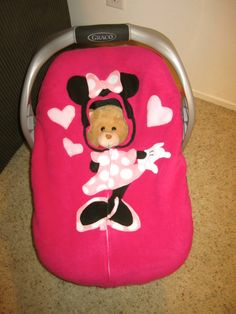 minnie mouse stroller and carseat | Pink Minnie Mouse Car Seat Snuggler Fitted by TheLittleEngine