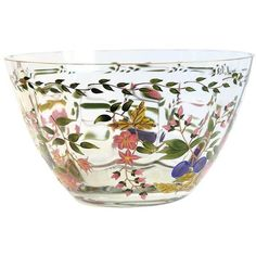 Vintage Hand Painted Glass Bowl (8.275 RUB) ❤ liked on Polyvore featuring home, kitchen & dining, serveware, serving bowls, vintage bowl, vintage salad bowl, glass fruit bowl, glass serving bowl and fruit salad bowl