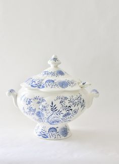 Vintage Large Blue Ennamel and Porcelain Soup by UnendingStory