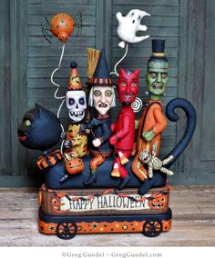 The Halloween Parade ~ original wood carving by Greg Guedel                                                                                                                                                                                 More