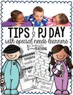 This {freebie} includes tips and tricks to share with families for making pajama day a little easier for our special needs learners, who may struggle with the concept that it's okay to wear our pajamas to school.  Along with the page of tips and tricks, there is a letter to parents, a one page social story, and a reminder to send home the day before PJ day.