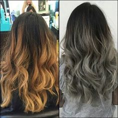 brown to silver ombre