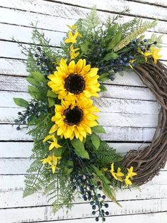 Sunflowers are such a happy flower, don't you think? I have 2 of these sunflower wreaths available in my shop! Easy Fall Wreaths, Autumn Wreaths For Front Door, Holiday Wreaths, Door Wreaths, Country Wreaths, Burlap Wreaths, Diy Wreath, Grapevine Wreath, Wreath Ideas