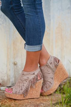 Fringe Delight Wedge - Taupe from Closet Candy Boutique Code Wedge Boots, Wedge Sandals, Shoes Sandals, Boot Wedges, Sandal Wedges, Sandals Outfit, Heeled Sandals, Leather Sandals, Crazy Shoes