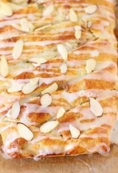 """I used some puff pastry with the almond filling from this recipe and it was SOOOOO good. Will absolutely make this again. """"Buttery Almond Pastry Braid Recipe from Willow Bird Baking"""" Breakfast Pastries, Sweet Pastries, Bread And Pastries, Breakfast Recipes, Dessert Recipes, Danish Pastries, Almond Pastry, Almond Danish Recipe, Almond Filling Recipe"""