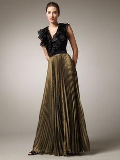 Sheath / Column V-neck Ruffles Sleeveless Floor-length Chiffon Prom Dress / Evening Dress #evening dress/prom dress #floor-length #v-neck #fashion #sleeveless