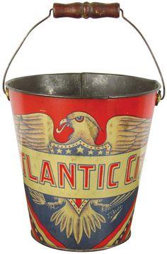 Antique patriotic sand bucket