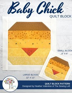 The Baby Chicks Quilt Block is perfect for spring! It comes in 2 sizes and can be used in many different projects from home decor to quilts.The Sewing Loft #Block2Quilts #thesewingloft Sewing Basics, Sewing Hacks, Sewing Tutorials, Sewing Projects, Sewing Patterns, Sewing Tips, Quilt Patterns, Craft Projects, Wings Design