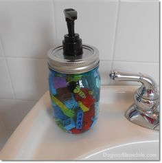 Your kids will love you! Make this easy soap dispenser out of a blue Ball Heritage Collection jar (took 5 minutes) -- and add Legos or plastic animals! Pin this to your boards with hashtag #heritageblue for a chance to win a jam maker and case of these jars!