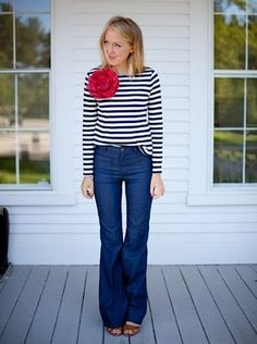 Love: ridiculous bell bottoms, the stripey, and EM's whimsy.