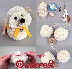 Best 12 diy braid doll pattern tutorial by belinda – SkillOfKing. Sock Crafts, Cute Crafts, Yarn Crafts, Crafts To Make, Crafts For Kids, Yarn Animals, Pom Pom Animals, Pom Pom Puppies, Easter Crafts