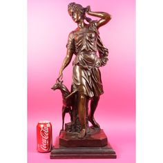ON SALE !!! Bronze Marble Statue Elegant Victorian Lady Greyhound...This Is A Bronze Sculpture Of Artemis The Hellenic Goddess Of Hunt, Wild Animals, Wilderness, Childbirth, Virginity And Young Girls, Bringing And Relieving Disease In Women. She Often Was Depicted As A Huntress Carrying A Bow And Arrows. However, In This Representation, She Can Be Imagined Valiantly Walking Through A Deep Forest, Putting A Loose Strand Of Hair In Its Place, While One Of Her Hunting Dogs Yaps At Her Feet. ...
