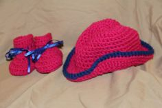 SET Crochet Cowboy Hat and 1 pair 3-6 months size crochet baby booties PINK BLUE #handcrocheted #BootiesandCowboyCap