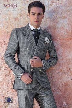 Gray linen suit suit boyfriend suit Source by butchduhart Costume En Lin, Costume Gris, Mode Costume, Sharp Dressed Man, Well Dressed Men, Double Breasted Suit Men, Style Costume Homme, Linen Suit, Pinstripe Suit