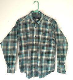 Patagonia Men's XS Organic Cotton Blue Long Sleeve Plaid Button Up Dress Shirt   | eBay