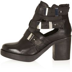TOPSHOP Aubrey2 Cut Out Boots (76 BRL) ❤ liked on Polyvore featuring shoes, boots, botas, chaussure, black, black leather shoes, black high heel shoes, high heel shoes, black cut out boots and cutout boots