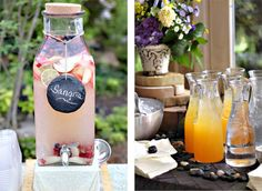 butterfly and ladybug sweet bug outdoor garden baby shower sangria drinking station with hanging river rock tags