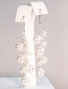 Audrey Pearl Drop Bridal Earrings