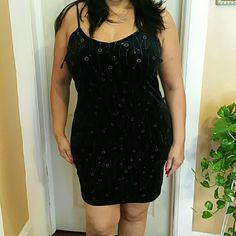 Black mini dress, floral, sliver flowers 92% polyester & 8% spandex non such Dresses Mini