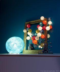 boule S bleu ciel sur pied, guirlande de 35 boules (blanc, gris perle, kaki, bleu poudré, turquoise, orange, fuchsia)