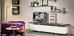 Low lacquered wooden TV cabinet SENECA By Cattelan Italia design Paolo Cattelan Wooden Door Paint, Wooden Doors, Armoire Tv, Shelves Around Tv, Family Room Walls, Muebles Living, Italia Design, Tv Sets, Italian Furniture