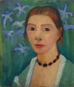 Paula Modersohn-Becker (Germany 1876-1907)Self portrait in front of green background with blue iris (1905)oil on canva...