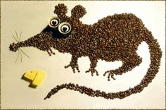 Coffee bean art is just as enjoyable as drinking a cuppa joe. These wonderful coffee bean art creations are the works of Irina Nikitina. Coffee Bean Art, Coffee Beans, Seed Art, Good Morning Coffee, Animals Images, Art Plastique, Pebble Art, Art Pictures, Photo Art