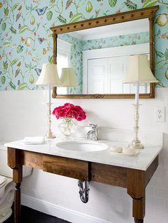 A great powder room is a must with a living room as it adds convenience for the guests. These 25 powder room design ideas will make sure you have the best powder room in town. Decor, Bathroom Inspiration, Bathroom Decor, Interior, Bathroom Sink Cabinets, Powder Room Design, Home Decor, Vintage Apartment, Bathroom Design
