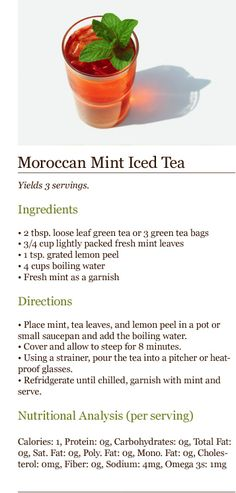 For the iced tea drinkers: Healthy Drink Morrocan Mint Iced Tea