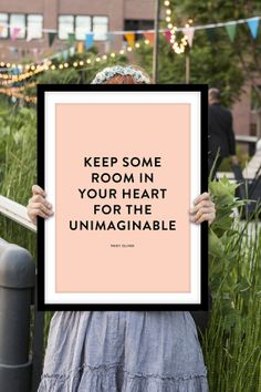 """Mary Oliver Inspirational Quote """"Keep Some Room in Your Heart"""" Pink and Black Typographic Art Print Home Decor Poster"""