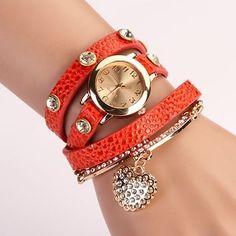 Dress Watch Wrap orange Leopard Watch Leather Band Watch