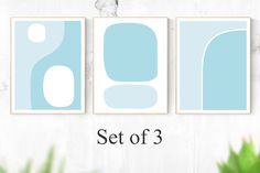 SET of wall instant digital art, & 3 Piece Wall Art, Wall Art Sets, Blue Artwork, International Paper Sizes, Abstract Styles, Blue Abstract, Modern Wall Art, Color Themes, Colorful Decor