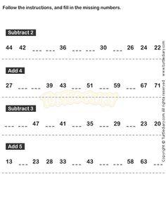 Number Sequence Worksheet 18 - math Worksheets - kindergarten Worksheets