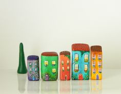Collection of 5 miniature houses  1 tree bonus by artemishion, €47.00