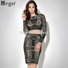 HEGO 2015 Hot 100% Rayon Autumn Brand Leopard Antique-Lace Printed Long Sleeve Two Pieces Sets Cocktail Bandage Dress H826