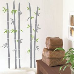 Wall decoration graphic vinyl sticker [Bamboo-TGWST-40] Two color decal Creates more accent on room walls & windows.