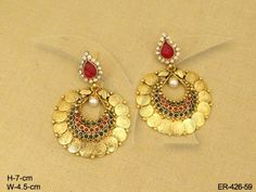 Laxmi Coin Tops Temple Jewellery Earrings