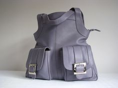 Large Gray Leather Bag
