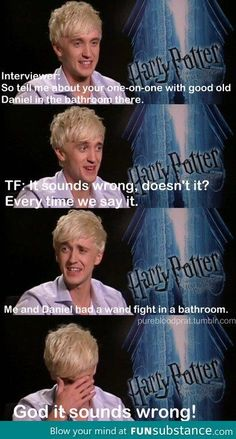 Funny Harry Potter Tom Felton Wand Fight