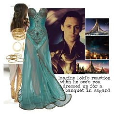 Imagine Loki's reaction when he see's you dressed up for a banquet in Asgard by fxndom-imxgines on Polyvore  Absolutely Amazing, gorgeous, stunning