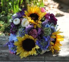Fall wedding bouquet made of silk flowers, sunflowers, blue hydrangea, raspberry roses lavendar, white & green ranunculus, and scabiosa. on Etsy, $145.00