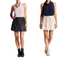 Free People A-Line Vegan Leather Beach Jet Mini Skirt pink - black sz 8- 12 $128 #FreePeople #ALine