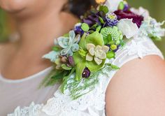 Floral Shoulder Corsages for the Bride or Bridesmaids ~ green & purple shoulder corsage with succulents, ranunculus, etc. by A Garden Party Corsage Wedding, Wedding Veils, Our Wedding, Wedding Dresses, Wedding Accessories For Bride, Bridal Accessories, Brides And Bridesmaids, Green And Purple, Event Design