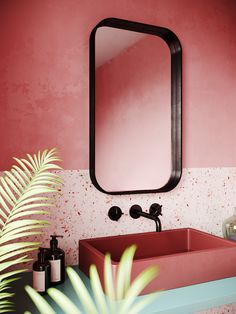 pink, two-toned terrazzo bathroom