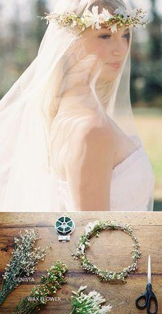 DIY WEDDING FLOWER CROWN OVER A DROP VEIL http://www.oncewed.com/diy/diy-flower-crown-over-a-drop-veil/